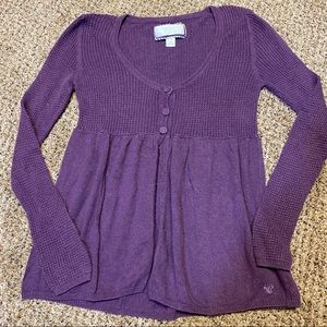American Eagle knit babydoll cardigan EUC purple